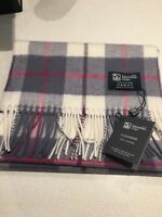 Johnstons of Elgin Dress Macrae Check pure cashmere scarf new With Tags