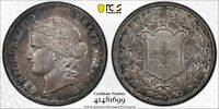 1907 B SWITZERLAND 5 FRANC SILVER PCGS AU50 #41481699  KM#34 GREAT LOOKING COIN
