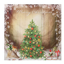 71'' Vintage Christmas Tree Holiday Present Polyester Shower Bath Curtain Fabric
