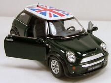 "Kinsmart Mini Cooper S 1:28 scale 5"" diecast model car w British Flag Green K95"