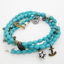 Wrap bracelet collier Signe de Paix de Chaîne Balle Shamballa Pendentif Plume clé charme
