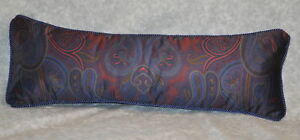 Corded Accent Pillow made with Ralph Lauren Driver Navy Blue Paisley Fabric 24x8