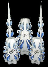 100% Custom SILVER HEARTS Wedding Unity Candles Set w/ Moms 5 pieces, your color