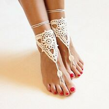 1 Paar beige Bohemia Barefoot Sandals Fußschmuck Perlen Fußkette Hippie Boho