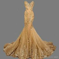 Lace Mermaid Gold Evening Dress Long Chiffon Bead Party Prom Pageant Formal Gown