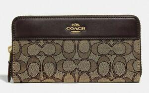 New Coach F76638 Accordion Zip Wallet In Signature Jacquard Khaki Brown