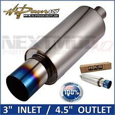 "HKS 3"" Stainless Steel Hi Power Ti Muffler Burnt Flame Exhaust Tail Pipe XL 409"