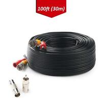 Tonton BNC RCA Cord 100FT 30m Cable Video Power For Camera DVR CCTV Security