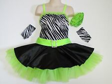 SKATING DRESS Lime Green & Zebra Print Ice Figure Skate Jazz Dance Child S