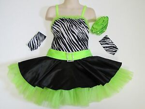 SKATING DRESS Lime Green & Zebra Print Ice Figure Skate Jazz Dance Child S