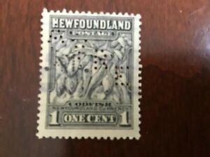 """Newfoundland - Canada 1 cent Perfin AYRE used stamp """"COD FISH"""" VG Lot 9983"""