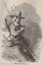 Antigüedad 1845 impresión Izaak Walton de pesca con mosca pesca con caña Fish Varilla Tackle Cesta De Río