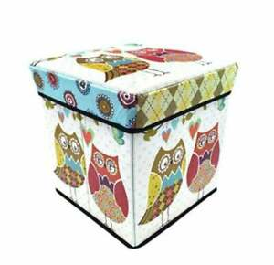 Foldable Stools for Sitting in Living Room Storage Stool Owl Print Home Decor
