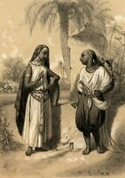 Arab woman & man talking c.1892 people old tinted lithographed print