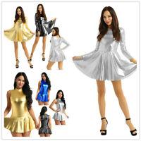 Women Wetlook Leather Metallic A-line Short Mini Dress Sleeveless Party Clubwear