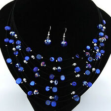 B3 Gorgeous Beaded Multi Strand Necklace and Drop/Dangle Earring Set-Blue