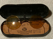 Vintage Antique Willson Metal Case & Goggles Sunglasses