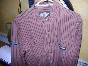 Harley Davidson Long Sleeve Casual Shirt - Brown w/ Black Stripes - Size M Long