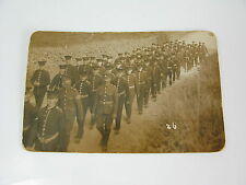 WWI?? SOLDIERS MARCHING REAL PHOTO RP POSTCARD - regimental