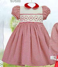 Pretty Originals Smocked Dress & Headband style BD1588 Age 2-5 years  red/cream