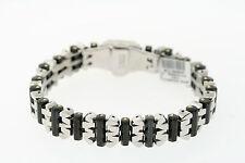 Black & Blue Jewelry Co 14mm black Stainless Steel Gold-Tone Peg Link Bracelet