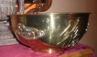 VINTAGE CHINESE BRASS ARTS CRAFTS CENTERPIECE BOWL