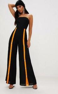 Pretty Little Thing Bandeau Contrast Popper Leg Jumpsuit Black Size 12 $85 rrp