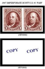 1847 5¢ IMPERFORATE U.S. SCOTT #1 PAIR -REPRODUCTION-
