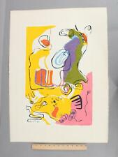 Original 1969 Signed Kene French Abstract Serigraph Print, CLAIR DE LUNE