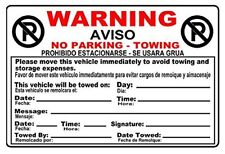 """10 No Parking Stickers 2 Color 6.5"""" x 4"""" Permanent Adhesive Towing Violation"""