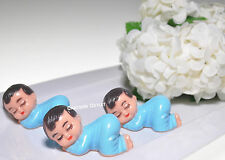 "12 PCS SLEEPING  BABY SHOWER FAVORS RECUERDOS DECORATIONS 3"" GIFTS BLUE BOY AZUL"