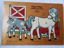 Vtg 1970s Fisher-Price Wooden Jigsaw Puzzle Horse & Colt 10 pcs 512 Quaker Oats