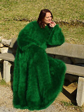 Luxury Green HandKnitted Longhair Mohair Dress Sweater Fetish