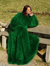 Luxury Green HandKnitted Longhair Mohair Dress Sweater Fetish