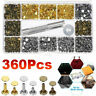 360 Pcs Leather Rivets Double Cap Rivet Tubular Metal Studs Setting Tool Kit DIY