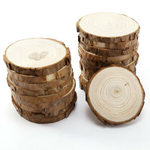 20pcs Natural Wood Bark 8-9cm Slices Round Cut Pieces Embellishment Craft