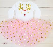 Girls Baby 1st Christmas Reindeer Outfit Tutu Costume rose gold top Polka Dot UK