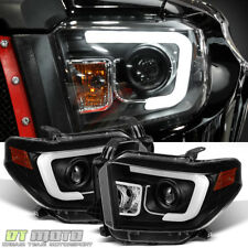 2014-2017 Toyota Tundra LED DRL Black Projector Headlamps Left+Right 14 15 16 17