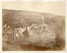 France, Orcival dans le Puy de Dome Vintage albumen print.  Tirage albuminé