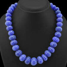 TRUELY WORLD CLASS 738.00 CTS EARTH MINED SAPPHIRE ROUND CARVED BEADS NECKLACE