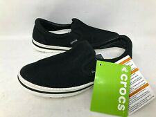 NEW! Crocs Men's Norlin Slip On Shoes Black/White Size:4 #201084066 f17d a