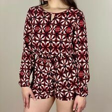 Red Bohemian Pattern Pocket Long Sleeve Romper Large