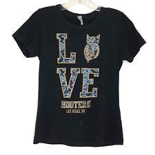 Women's Hooters Las Vegas NV LOVE Black T-Shirt Size S Small Owl