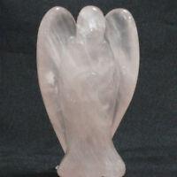 Rose Quartz AGATE CARVED ANGEL CRYSTAL GEMSTONE REIKI HEALING NEW AGE 50mm