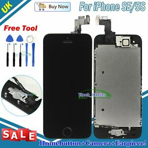 Black Replacement For iPhone SE 5S LCD Touch Screen Frame + Camera Home Button