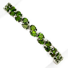 Sterling Silver 925 Chrome Diopside Gemstone 2 Row Tennis Bracelet 7.25-8.75 In