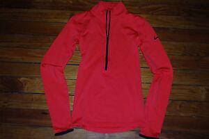 Women's Nike Pro Dri-Fit Bright Orange 1/2 Zip Running Compression Shirt (Small)