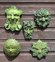 Green Man wall plaques set of 5 celtic pagan foliate stone home garden ornaments