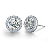 SWAROWSKI STYLE RHODIUM PLATED SILVER STUD EARRINGS 3 STYLES TO CHOOSE UK