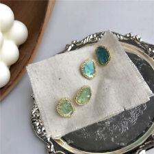 Fashion Women Geometric Irregular Blue Green Statement Crystal Ear Stud Earrings